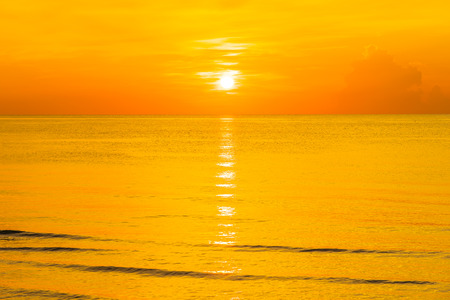 Beautiful outdoor tropical nature landscape of sea beach at sunrise or sunset time for leisure relax in holiday vacation