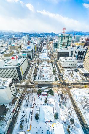 Sapporo Hokkaido, Japan - 2 February 2019 Beautiful architecture building cityscape of Sapporo city Hokkaido Japan in snow winter season Фото со стока - 123881231