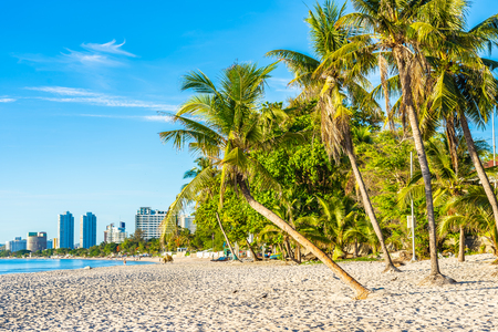 Beautiful outdoor landscape of sea ocean and beach with coconut palm tree in hua hin Thailand