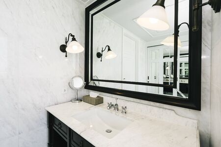 Beautiful luxury white and clean sink and facuet water interior of bathroom