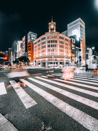 TOKYO GINZA , JAPAN - AUG 1, 2018 : Ginza district and area is the luxury popular place for shopping in mall and department store of tokyo