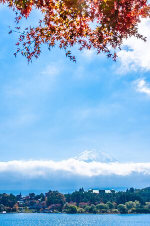 Beautiful landscape of mountain fuji with maple leaf tree around lake in autumn season Banco de Imagens
