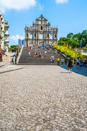 China, Macau - September 6 2018 - Beautiful old architecture building with ruin of st pual church landmark of macau city with blue sky background