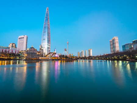 Seoul, South Korea : 8 December 2018 Beautiful architecture building Lotte tower is the one of landmark in Seoul City Editorial