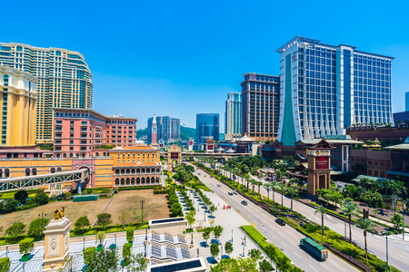 China, Macau - September 11 2018 - Beautiful luxury exterior architecture building of hotel resort in macau city skyline 報道画像