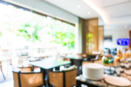 Abstract blur and defocused buffet restaurant and coffee shop cafe interior