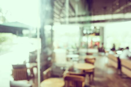 Abstract blur and defocused buffet restaurant and coffee shop cafe interior 写真素材 - 124720942