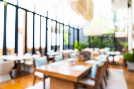 Abstract blur and defocused coffee shop and buffet restaurant interior 写真素材 - 124720601