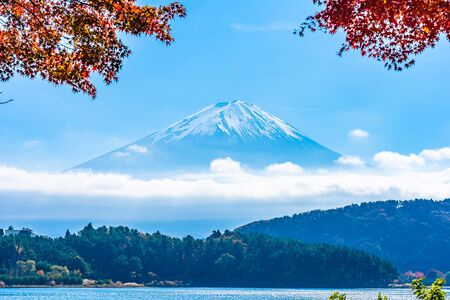 Beautiful landscape of mountain fuji with maple leaf tree around lake in autumn season 版權商用圖片 - 124714498