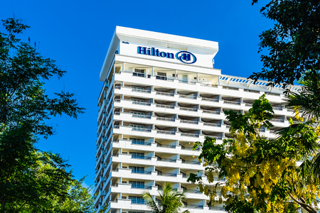 Hua hin , Thailand - 2 May 2019 : Hilton hotel and resort sign in hua hin province Thailand Editorial
