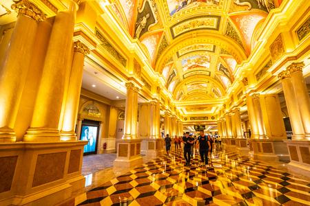 China, Macau - September 10 2018 - Beautiful luxury hotel resort and casino game in Venetian landmark of macau city 報道画像