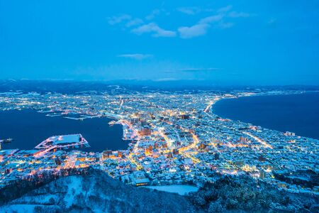 Beautiful landscape and cityscape from Mountain Hakodate for look around city skyline building and architecture at night 스톡 콘텐츠