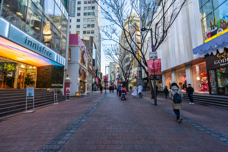 Seoul, South Korea 10 December 2018 : Myeong dong market is the popular place and district for shopping find something eat and sightseeing Editorial