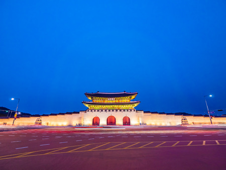 Beautiful architecture building of gyeongbokgung palace landmark of Seoul city in South Korea Editorial