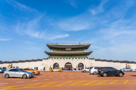 Seoul, South Korea 6 December 2018 : Beautiful architecture Gyeongbokgung palace is the popular place for travel and sightseeing in Seoul Korea