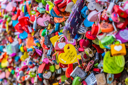 Seoul, South Korea 6 December 2018 : Love key on namsan mountain with Seoul tower is the one of landmark in Korea Editorial