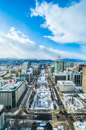 Sapporo Hokkaido, Japan - 2 February 2019 Beautiful architecture building cityscape of Sapporo city Hokkaido Japan in snow winter season