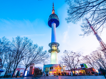 Beautiful architecture building N Seoul tower on namsan mountain landmark of Seoul City in South Korea