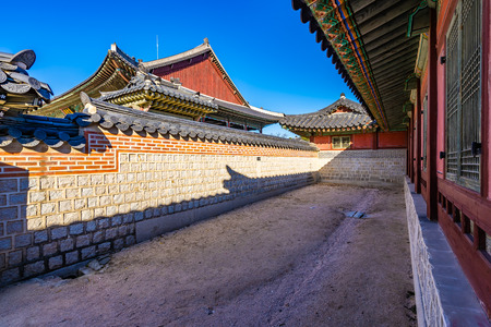 Beautiful architecture building Gyeongbokgung palace in Seoul South Korea Editorial