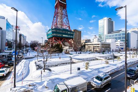 Sapporo Hokkaido, Japan - 2 February 2019 Beautiful architecture building of Sapporo Tv in Sapporo city Hokkaido Japan in snow winter season