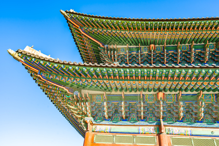 Beautiful architecture building Gyeongbokgung palace in Seoul South Korea 新聞圖片