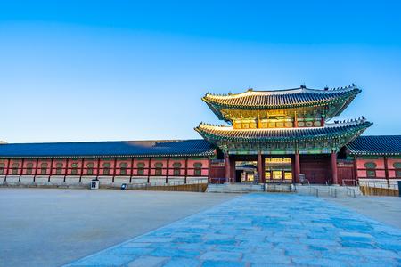 Beautiful architecture building Gyeongbokgung palace in Seoul South Korea 에디토리얼