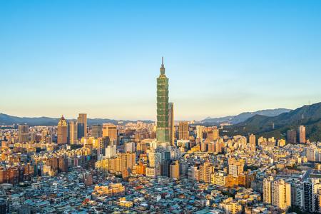 Beautiful architecture building taipei city skyline in Taiwan Stock Photo - 124999297
