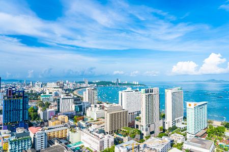 Pattaya Chonburi Thailand - 28 May 2019 : Beautiful landscape and cityscape of Pattaya city is popular destination in Thailand with white cloud and blue sky Редакционное