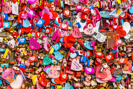 Seoul, South Korea 6 December 2018 : Love key on namsan mountain with Seoul tower is the one of landmark in Korea 에디토리얼