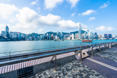 Beautiful architecture building exterior cityscape of hong kong city skyline with blue sky background