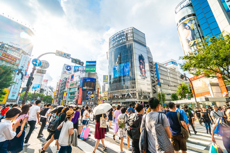 Tokyo, Japan Jul 29, 2018 : Shibuya intersection or crossing is the popular and landmark place in tokyo for shopping eating and have a lot of pedestrain in here Sajtókép