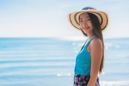 Portrait beautiful young asian woman happy smile relax around beach ocean and sea for leisure travel and vacation Reklamní fotografie - 132079287