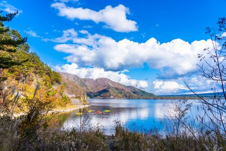 Beautiful landscape around lake kawaguchiko in autumn season Yamanashi Japan