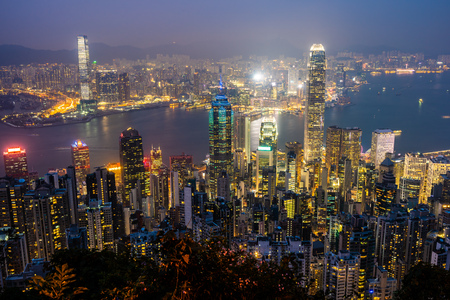 Beautiful architecture building exterior cityscape of hong kong city skyline at twilight and night