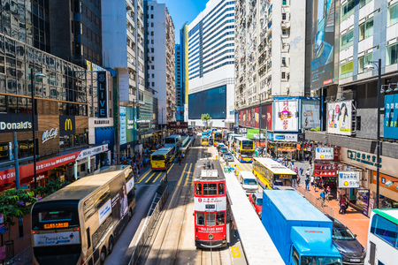Hong kong, China - 15 Sep, 2018 : Beautiful architecture and building with a lot of people and traffic in hong kong around causeway bay area Editorial