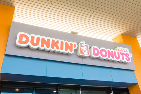 NONTHABURI , THAILAND JAN 20 2018 Dunkin donuts is the donut and coffee shop many store in Thailand and around the world