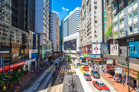 Hong kong, China - 15 Sep, 2018 : Beautiful architecture and building with a lot of people and traffic in hong kong around causeway bay area