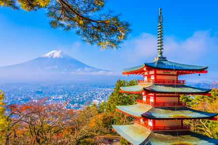 Piękny krajobraz górskiego fuji z pagodą chureito wokół drzewa klonowego w sezonie jesiennym w Yamanashi w Japonii