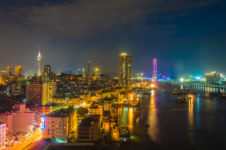 Beautiful architecture building cityscape of macau city skyline at night
