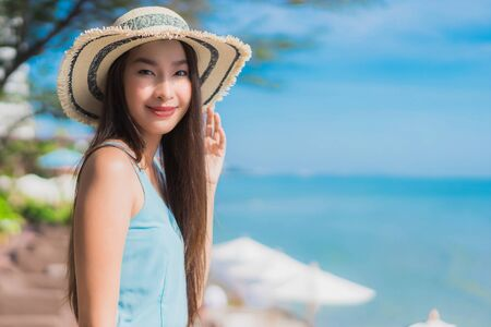 Portrait beautiful young asian woman happy smile relax around beach ocean and sea for leisure travel and vacation Reklamní fotografie