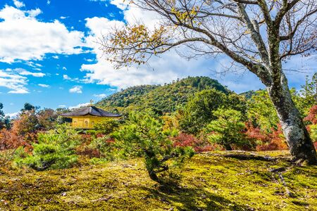 Beautiful Kinkakuji temple with golden pavillion landmark of Kyoto japan