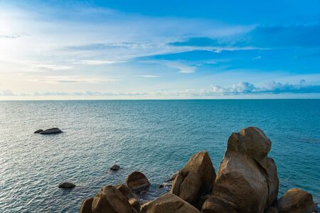 Beautiful outdoor tropical beach sea around samui island with coconut palm tree and other for holiday vacation travel