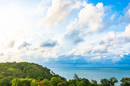 Beautiful panoramic landscape or seascape ocean with white cloud on blue sky for leisure travel in holiday vacation