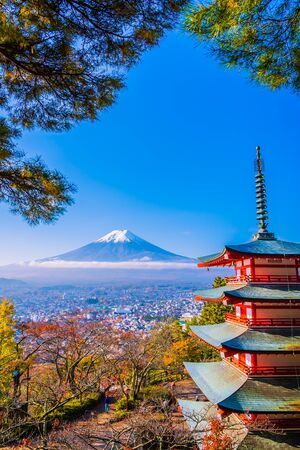 Beautiful landscape of mountain fuji with chureito pagoda around maple leaf tree in autumn season at Yamanashi Japan
