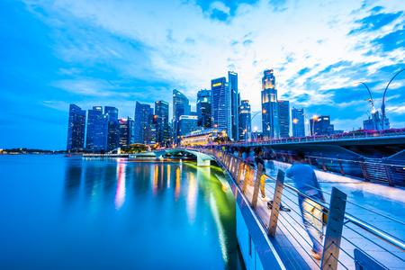 Singapore, 20 Jan 2019 : Beautiful architecture building skyscraper around marina bay in singapore city at twilight