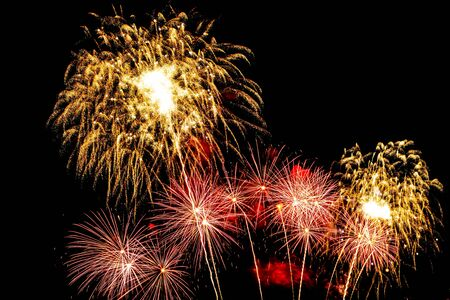 Beautiful firework display on sky at night for celebration in event Archivio Fotografico - 128368680