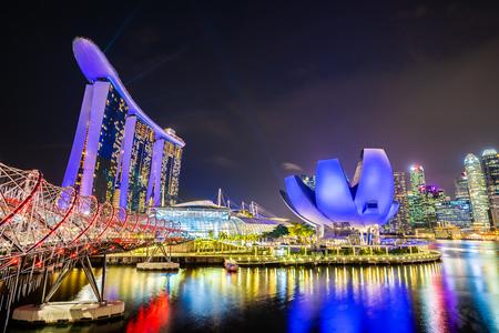 Beautiful architecture building skyscraper around marina bay in singapore city Editorial