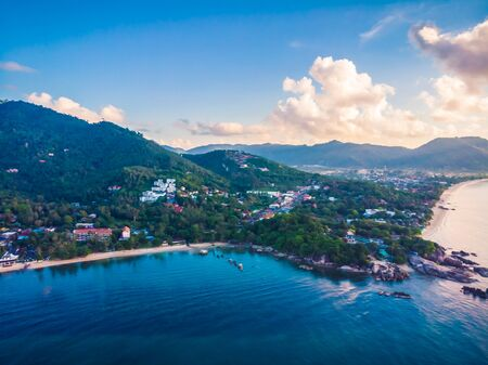 Beautiful aerial view of beach and sea or ocean in koh samui island Thailand for travel and vacation