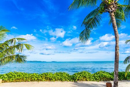 Beautiful landscape of beach sea ocean with coconut palm tree with white cloud and blue sky for leisure relax in holiday vacation