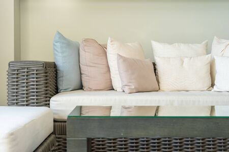 Pillow on sofa decoration in living room interior area